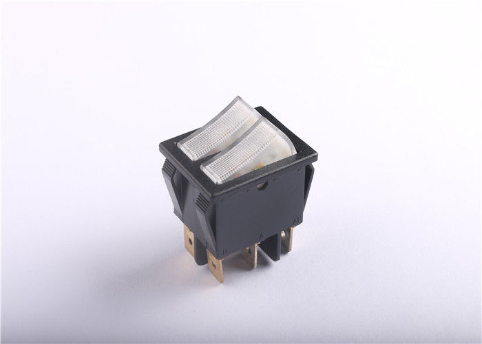 Anti Tip Dual Rocker Switch 16A AC250V DC125V Boat Shaped Long Electrical Life